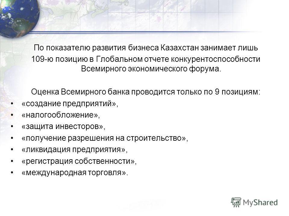 По показателю развития бизнеса Казахстан занимает лишь 109-ю позицию в Глобальном отчете конкурентоспособности Всемирного экономического форума. Оценка Всемирного банка проводится только по 9 позициям: «создание предприятий», «налогообложение», «защи