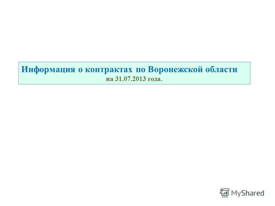 Информация о контрактах по Воронежской области на 31.07.2013 года.