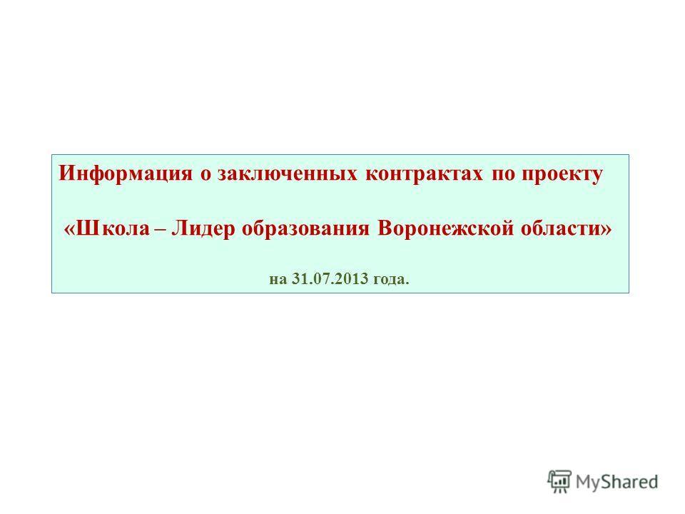Информация о заключенных контрактах по проекту «Школа – Лидер образования Воронежской области» на 31.07.2013 года.