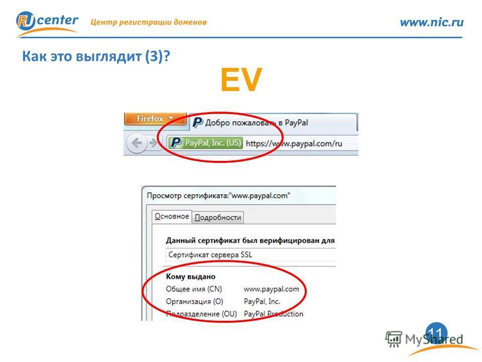 11 Как это выглядит (3)? EV