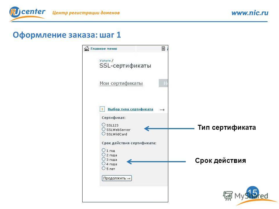 15 Оформление заказа: шаг 1 Тип сертификата Срок действия