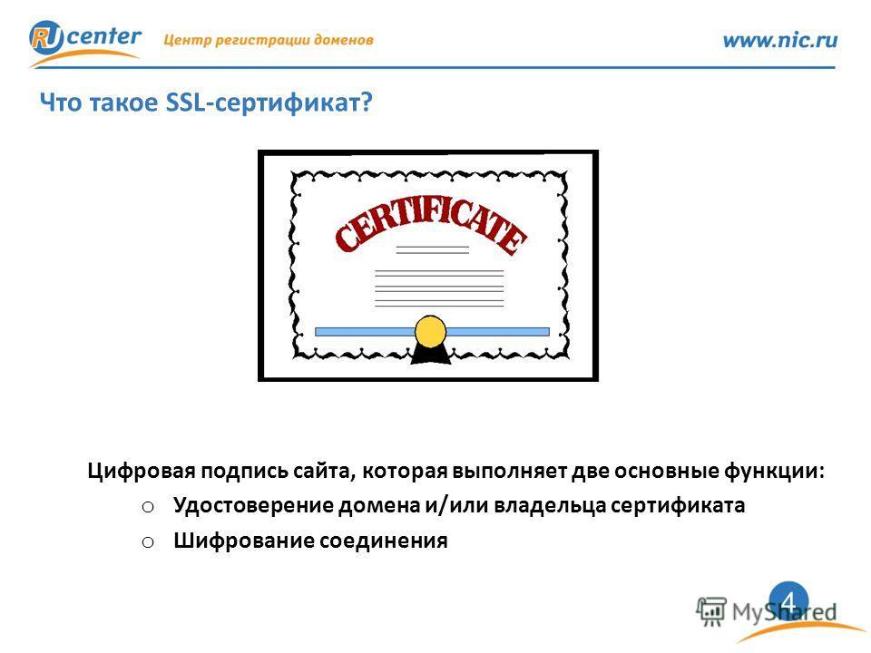 4 Что такое SSL-сертификат? Цифровая подпись сайта, которая выполняет две основные функции: o Удостоверение домена и/или владельца сертификата o Шифрование соединения