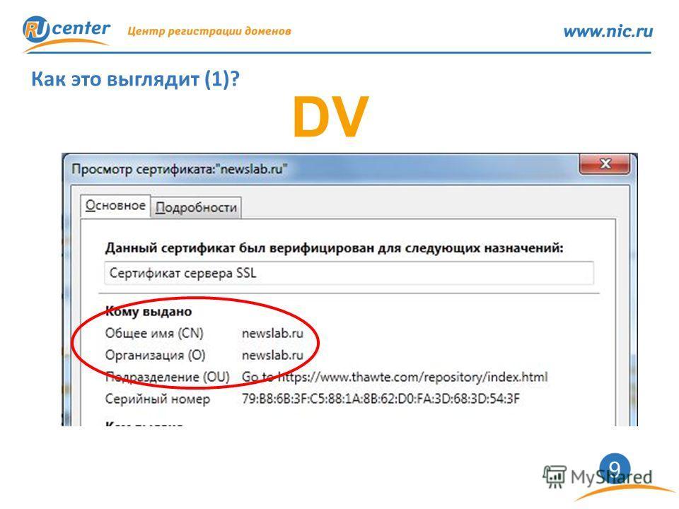 9 Как это выглядит (1)? DV