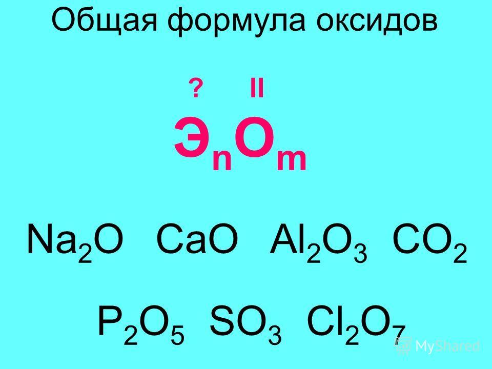 Общая формула оксидов ? II Э n O m Na 2 O CaO Al 2 O 3 CO 2 P 2 O 5 SO 3 Cl 2 O 7
