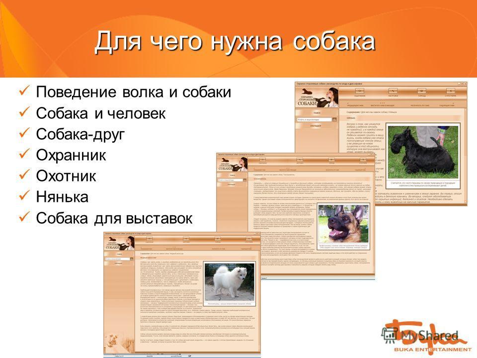 Для чего нужна собака Поведение волка и собаки Собака и человек Собака-друг Охранник Охотник Нянька Собака для выставок
