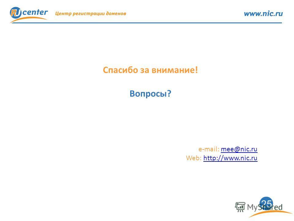 25 Спасибо за внимание! Вопросы? e-mail: mee@nic.rumee@nic.ru Web: http://www.nic.ruhttp://www.nic.ru