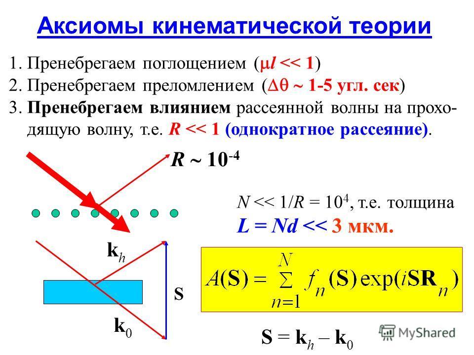 Аксиомы кинематической теории 1. Пренебрегаем поглощением ( l