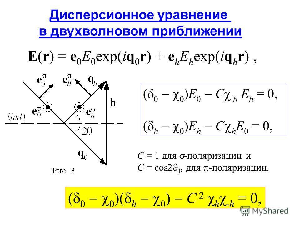E(r) = e 0 E 0 exp(iq 0 r) + e h E h exp(iq h r), Дисперсионное уравнение в двухволновом приближении ( 0 0 )E 0 Cχ -h E h = 0, ( h 0 )E h С h E 0 = 0, ( 0 0 )( h 0 ) C 2 χ h χ -h = 0, C = 1 для -поляризации и C = cos2 B для -поляризации.