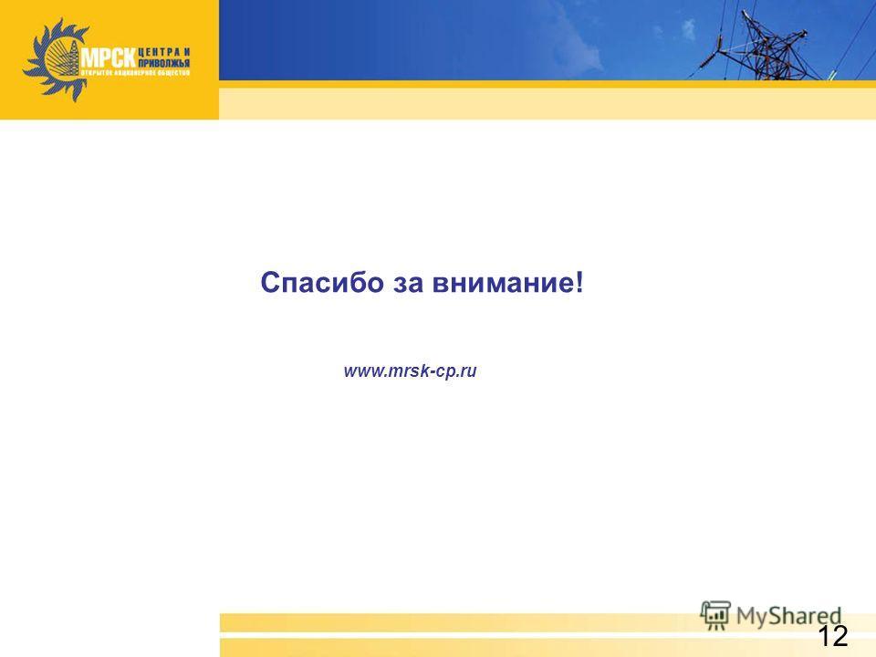 Спасибо за внимание! www.mrsk-cp.ru 12