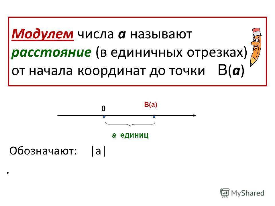 Модулем числа а называют расстояние (в единичных отрезках) от начала координат до точки В (а) Обозначают: |а| В(а) а единиц 0