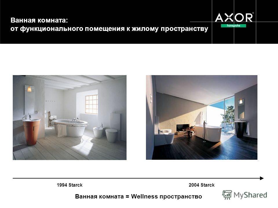 Ванная комната: от функционального помещения к жилому пространству 1994 Starck 2004 Starck Ванная комната = Wellness пространство