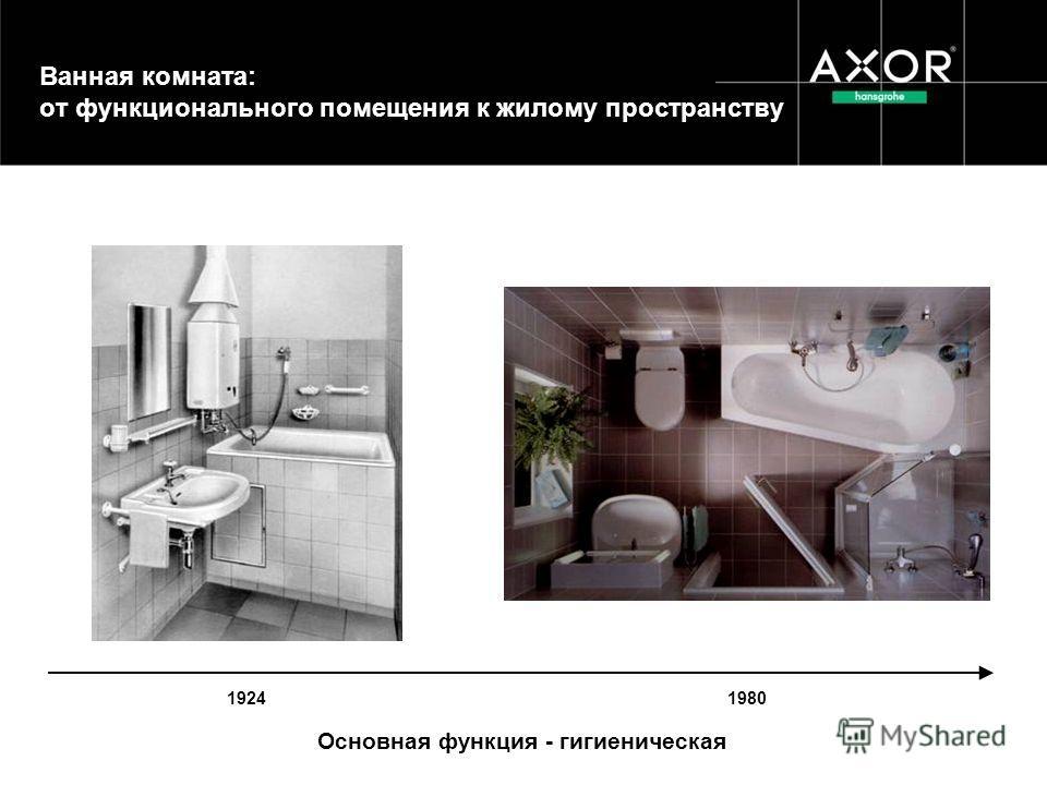 Ванная комната: от функционального помещения к жилому пространству 1924 1980 Основная функция - гигиеническая