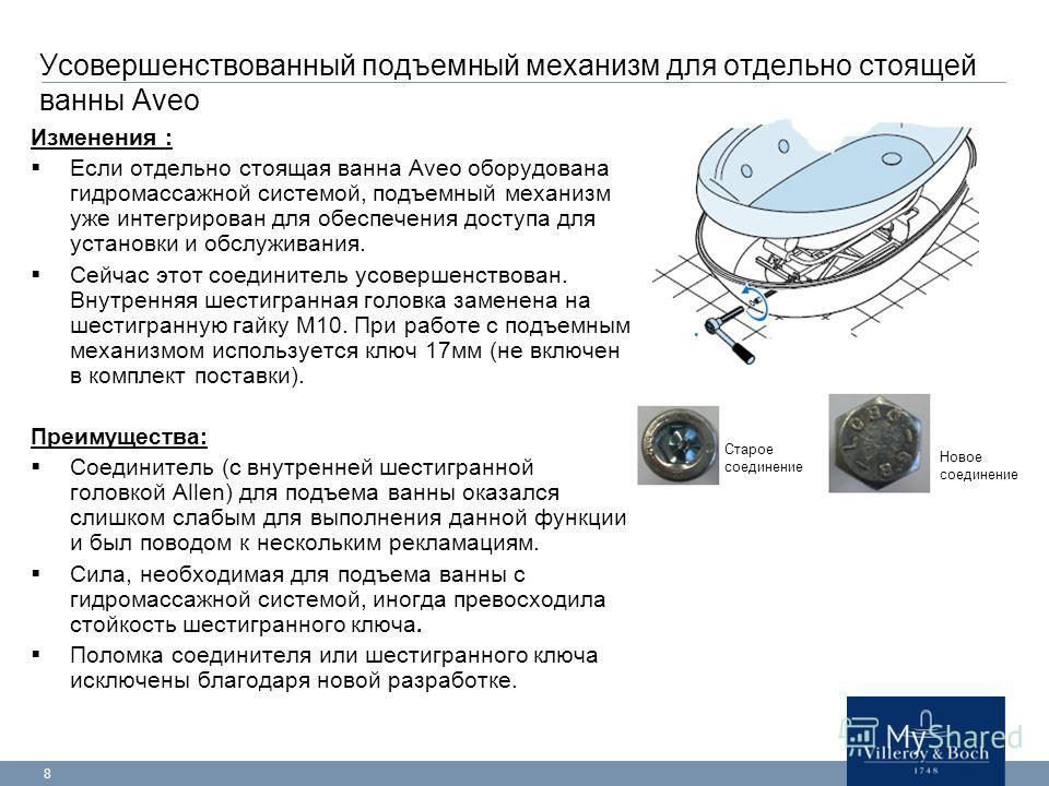 8 Усовершенствованный подъемный механизм для отдельно стоящей ванны Aveo Изменения : Если отдельно стоящая ванна Aveo оборудована гидромассажной системой, подъемный механизм уже интегрирован для обеспечения доступа для установки и обслуживания. Сейча