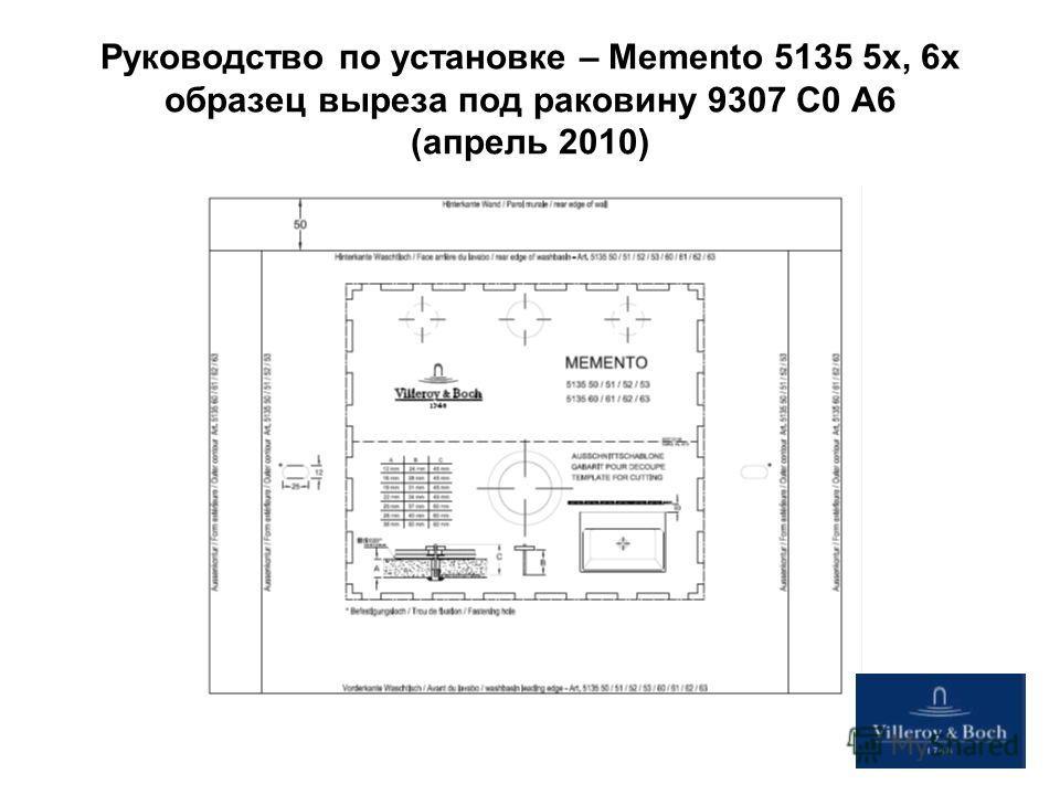 Руководство по установке – Memento 5135 5x, 6x образец выреза под раковину 9307 C0 A6 (апрель 2010)