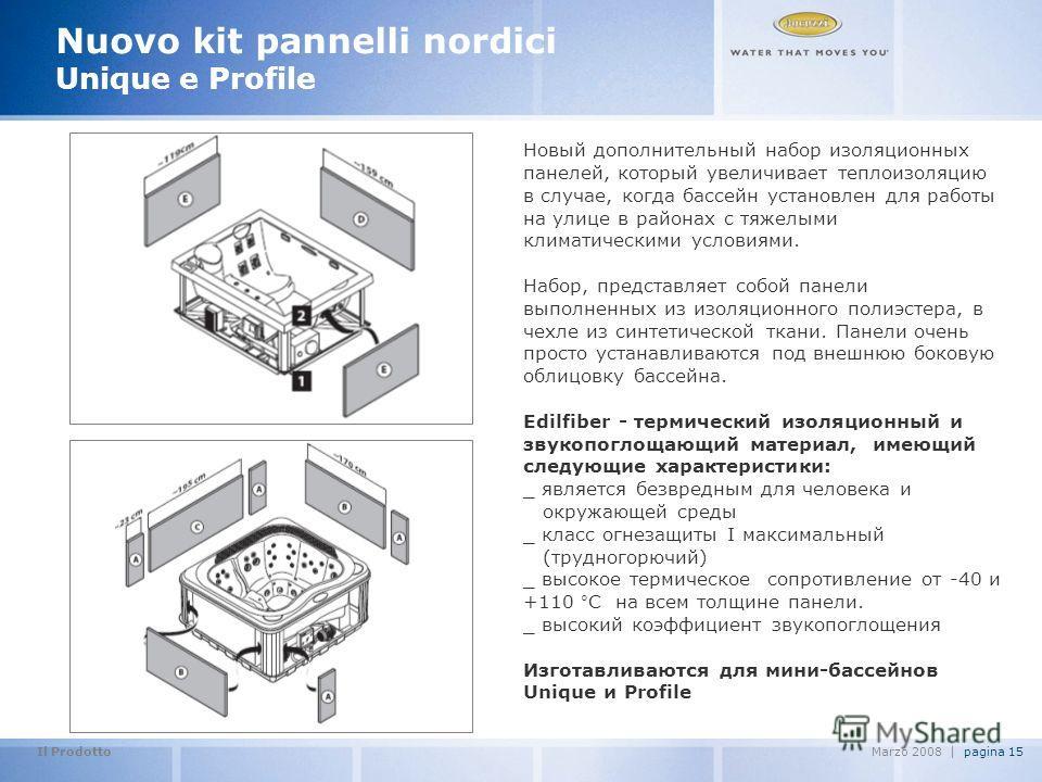 Il Prodotto pagina 15Marzo 2008   Nuovo kit pannelli nordici Unique e Profile Новый дополнительный набор изоляционных панелей, который увеличивает теплоизоляцию в случае, когда бассейн установлен для работы на улице в районах с тяжелыми климатическим