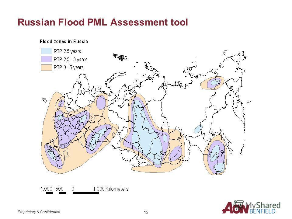 Proprietary & Confidential 14 AonBenfields Russian PML Assessment tools АонБенфилд разработал следующие модели оценки рисков для России: