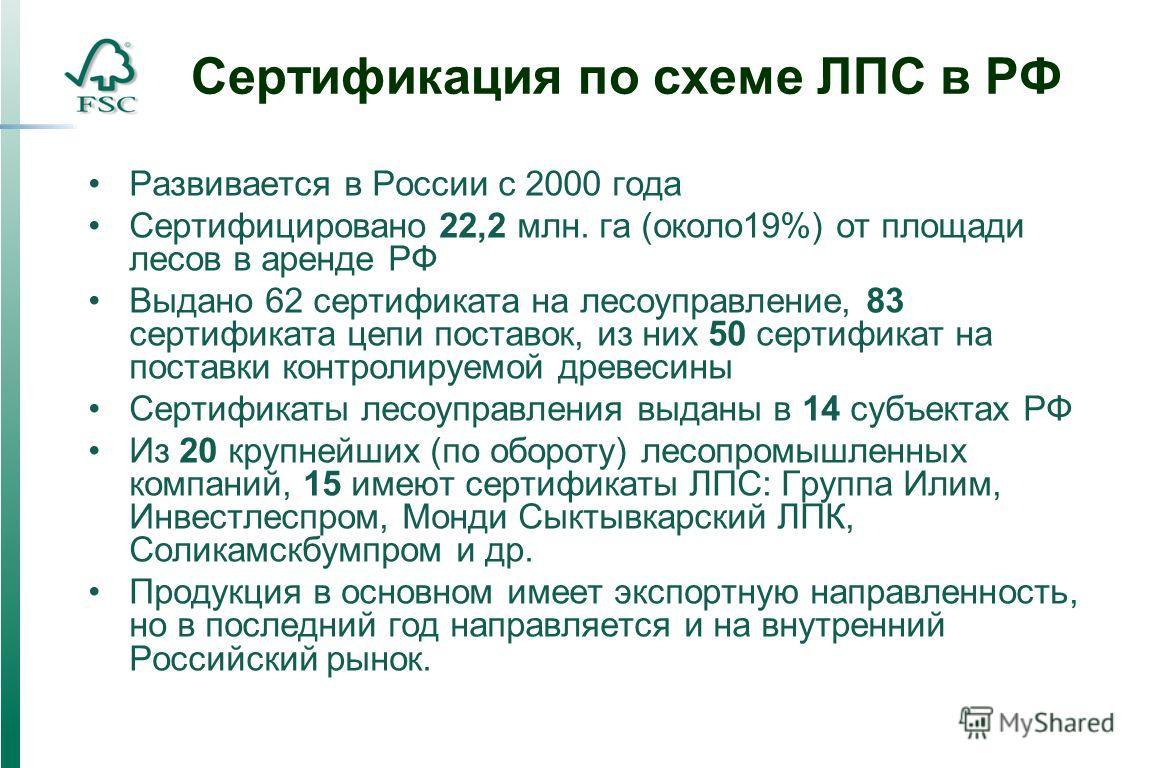 Сертификация по схеме ЛПС в РФ Развивается в России с 2000 года Сертифицировано 22,2 млн. га (около19%) от площади лесов в аренде РФ Выдано 62 сертификата на лесоуправление, 83 сертификата цепи поставок, из них 50 сертификат на поставки контролируемо