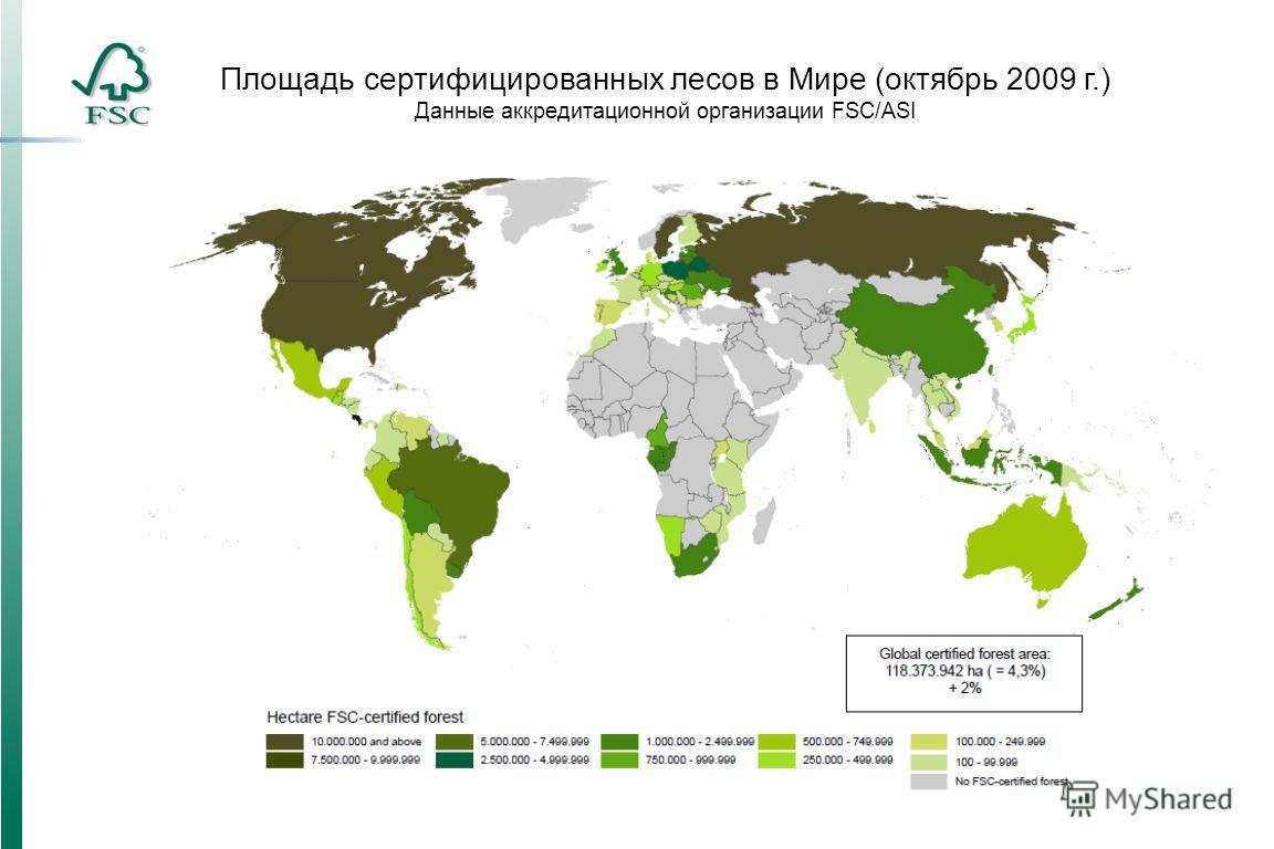 Площадь сертифицированных лесов в Мире (октябрь 2009 г.) Данные аккредитационной организации FSC/ASI