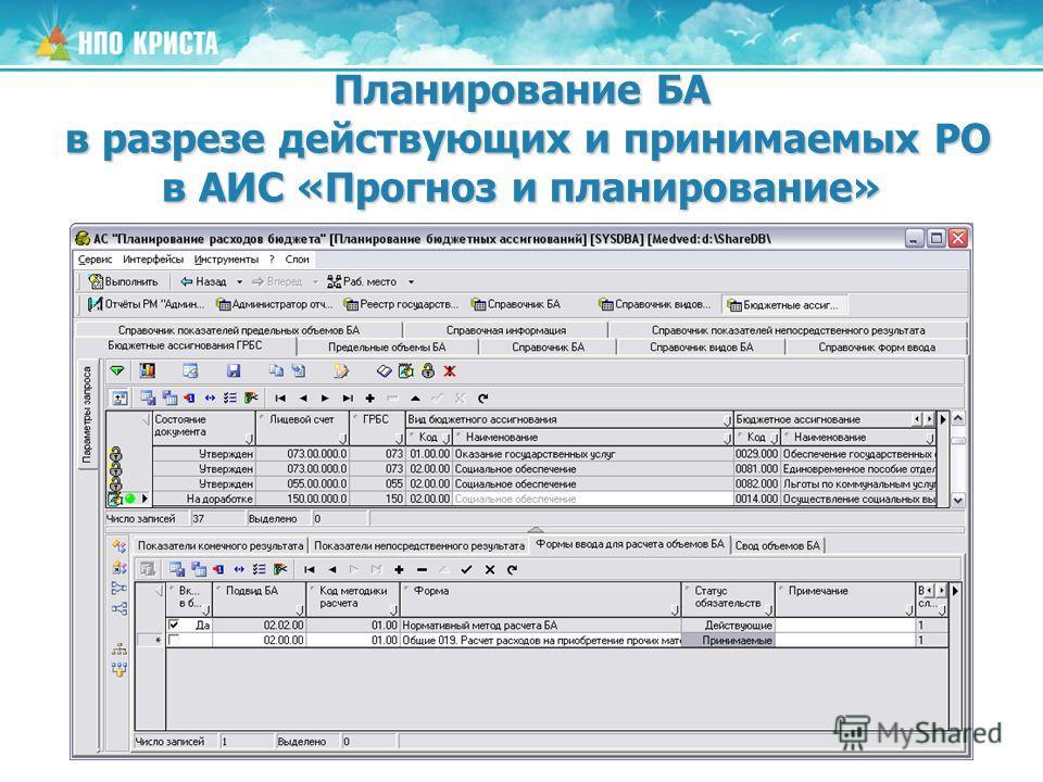Планирование БА в разрезе действующих и принимаемых РО в АИС «Прогноз и планирование»