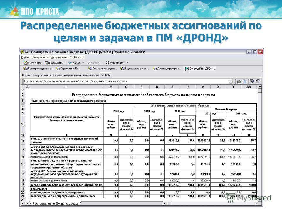 Распределение бюджетных ассигнований по целям и задачам в ПМ «ДРОНД»