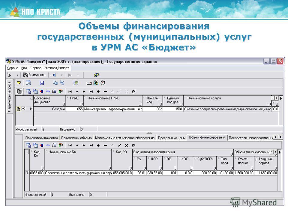 Объемы финансирования государственных (муниципальных) услуг в УРМ АС «Бюджет»