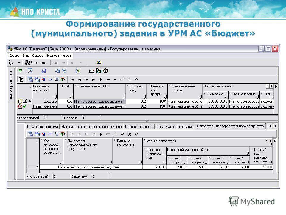 Формирование государственного (муниципального) задания в УРМ АС «Бюджет»