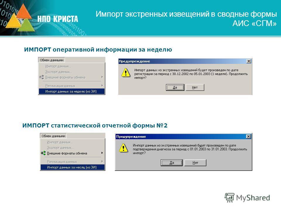 Импорт экстренных извещений в сводные формы АИС «СГМ» ИМПОРТ оперативной информации за неделю ИМПОРТ статистической отчетной формы 2