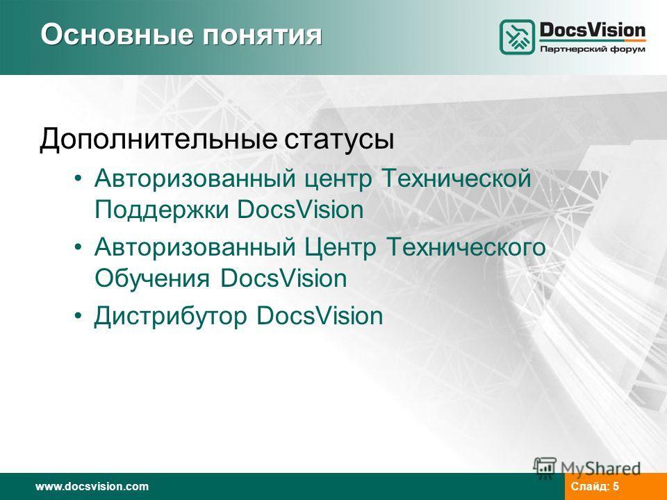 www.docsvision.comСлайд: 5 Основные понятия Дополнительные статусы Авторизованный центр Технической Поддержки DocsVision Авторизованный Центр Технического Обучения DocsVision Дистрибутор DocsVision