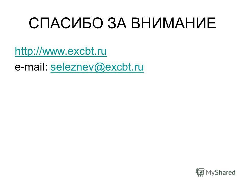 СПАСИБО ЗА ВНИМАНИЕ http://www.excbt.ru e-mail: seleznev@excbt.ruseleznev@excbt.ru