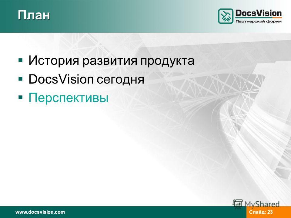 www.docsvision.comСлайд: 23 План История развития продукта DocsVision сегодня Перспективы
