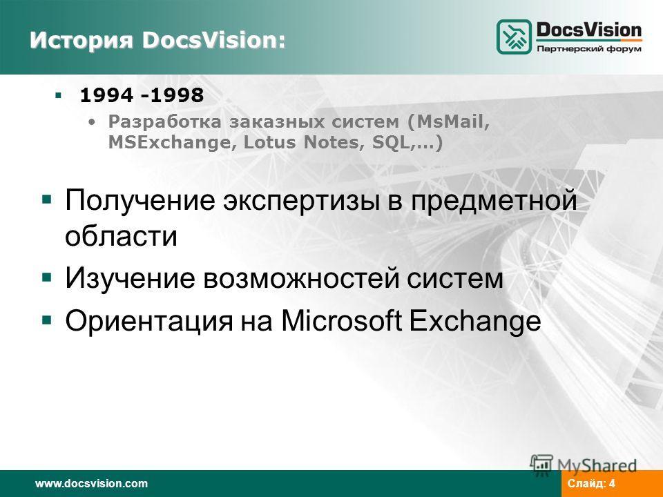 www.docsvision.comСлайд: 4 История DocsVision: 1994 -1998 Разработка заказных систем (MsMail, MSExchange, Lotus Notes, SQL,…) Получение экспертизы в предметной области Изучение возможностей систем Ориентация на Microsoft Exchange