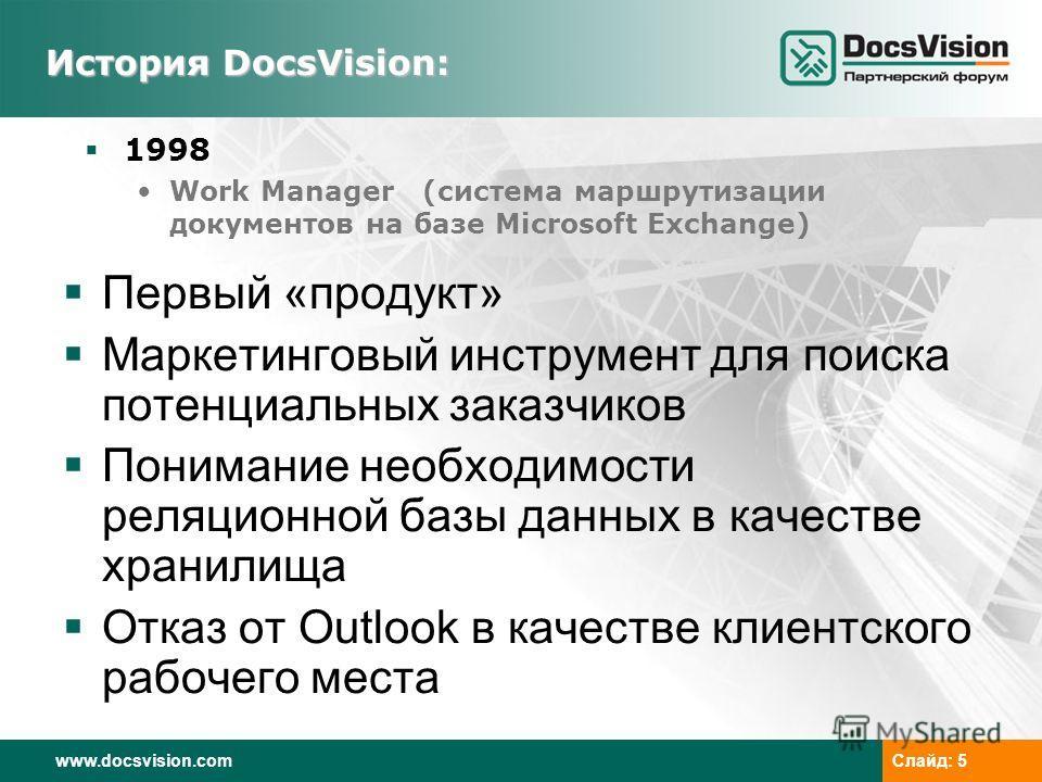 www.docsvision.comСлайд: 5 История DocsVision: 1998 Work Manager (система маршрутизации документов на базе Microsoft Exchange) Первый «продукт» Маркетинговый инструмент для поиска потенциальных заказчиков Понимание необходимости реляционной базы данн