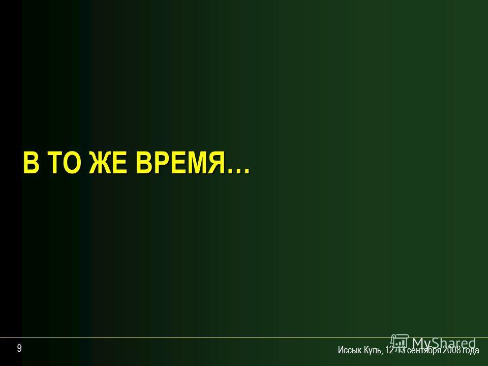 Иссык-Куль, 12-13 сентября 2008 года 9 В ТО ЖЕ ВРЕМЯ…