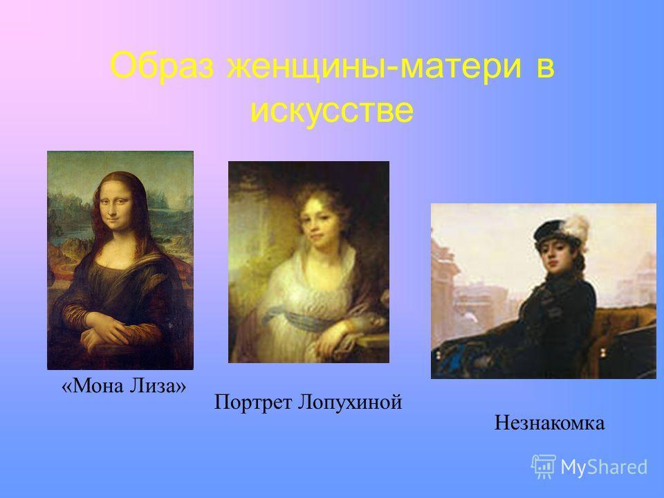 Образ женщины-матери в искусстве «Мона Лиза» Портрет Лопухиной Незнакомка