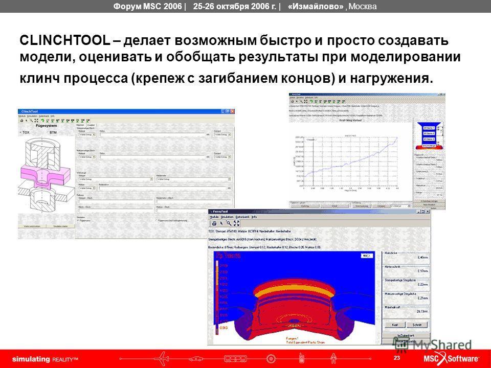 23 Форум MSC 2006 | 25-26 октября 2006 г. | «Измайлово», Москва CLINCHTOOL – делает возможным быстро и просто создавать модели, оценивать и обобщать результаты при моделировании клинч процесса (крепеж с загибанием концов) и нагружения.