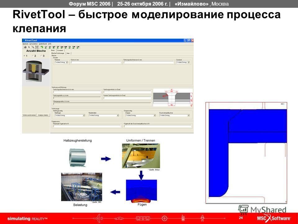 24 Форум MSC 2006 | 25-26 октября 2006 г. | «Измайлово», Москва RivetTool – быстрое моделирование процесса клепания