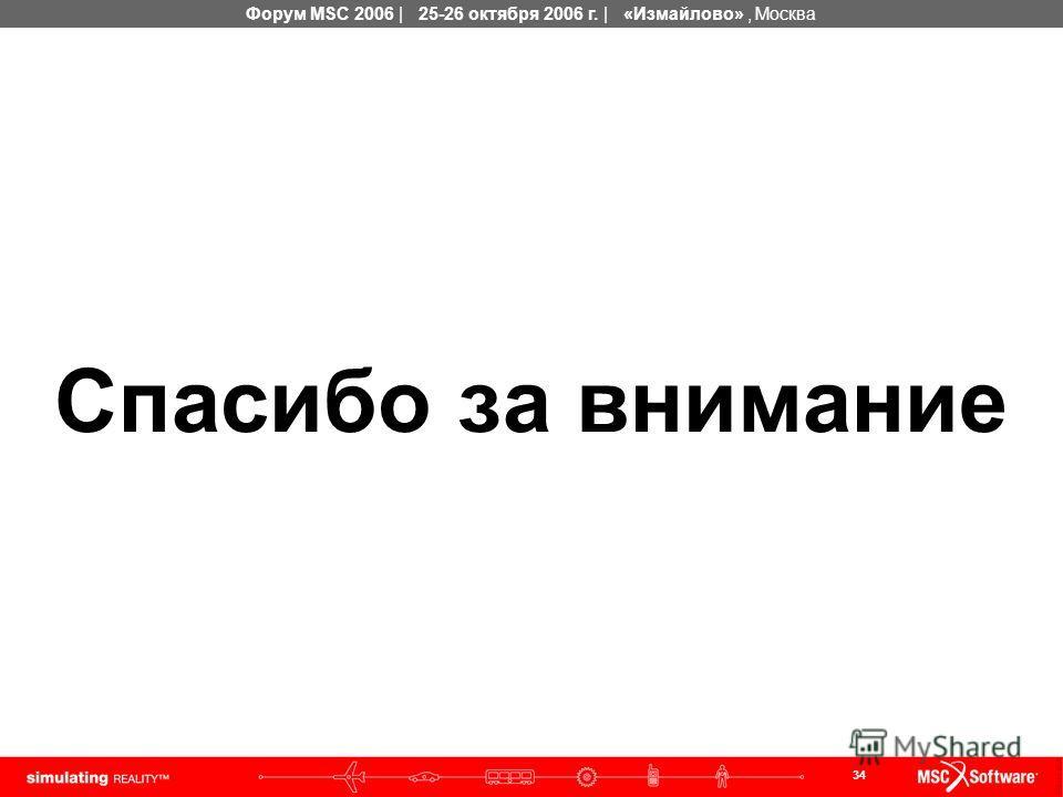34 Форум MSC 2006 | 25-26 октября 2006 г. | «Измайлово», Москва Спасибо за внимание