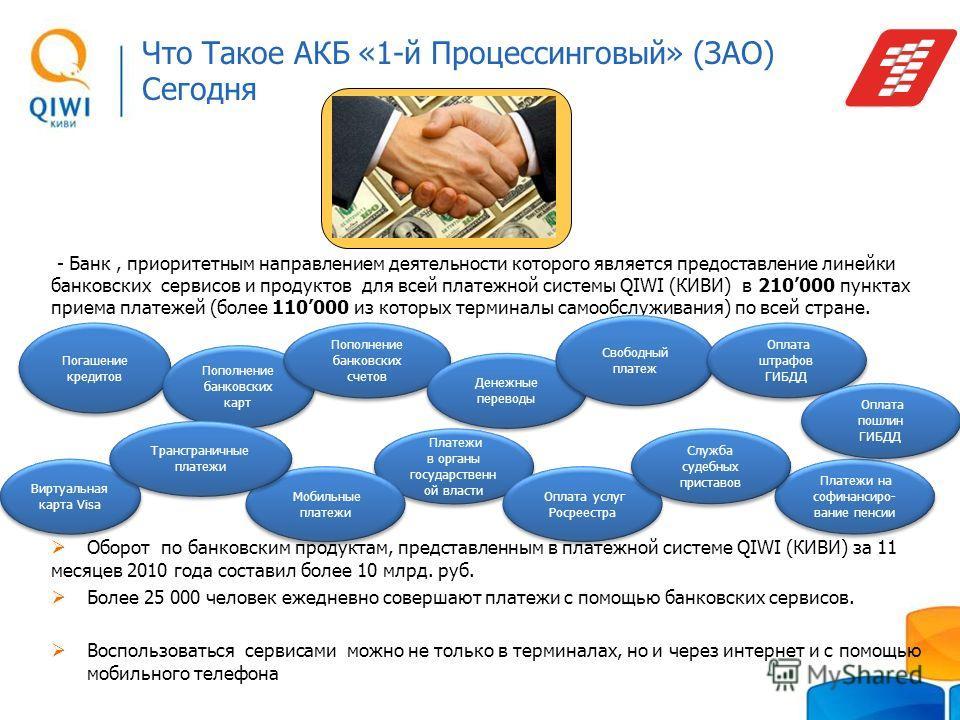 Что Такое АКБ «1-й Процессинговый» (ЗАО) Сегодня - Банк, приоритетным направлением деятельности которого является предоставление линейки банковских сервисов и продуктов для всей платежной системы QIWI (КИВИ) в 210000 пунктах приема платежей (более 11