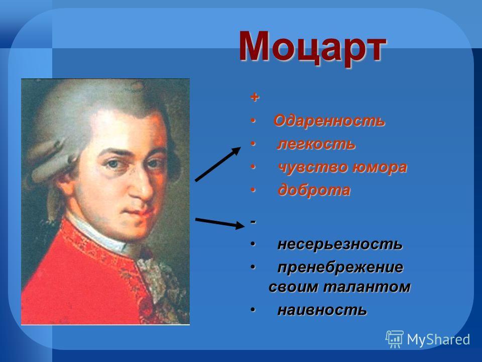 Моцарт - несерьезность несерьезность пренебрежение своим талантом пренебрежение своим талантом наивность наивность + Одаренность Одаренность легкость легкость чувство юмора чувство юмора доброта доброта