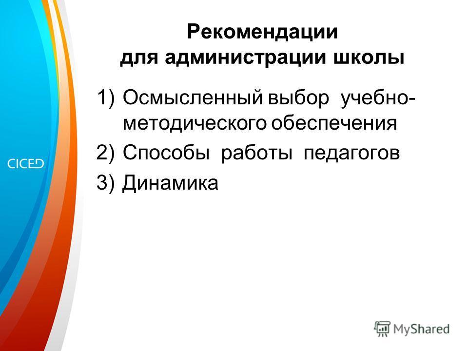 Рекомендации для администрации школы 1)Осмысленный выбор учебно- методического обеспечения 2)Способы работы педагогов 3)Динамика