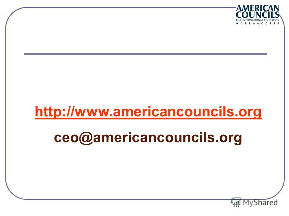 http://www.americancouncils.org ceo@americancouncils.org
