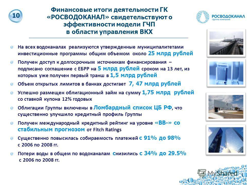 11 На всех водоканалах реализуются утвержденные муниципалитетами инвестиционные программы общим объемом около 25 млрд рублей Получен доступ к долгосрочным источникам финансирования – подписано соглашение с ЕБРР на 5 млрд рублей сроком на 13 лет, из к