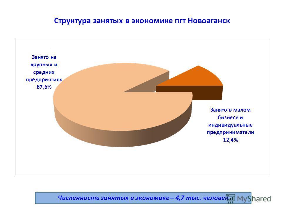 Структура занятых в экономике пгт Новоаганск Численность занятых в экономике – 4,7 тыс. человек