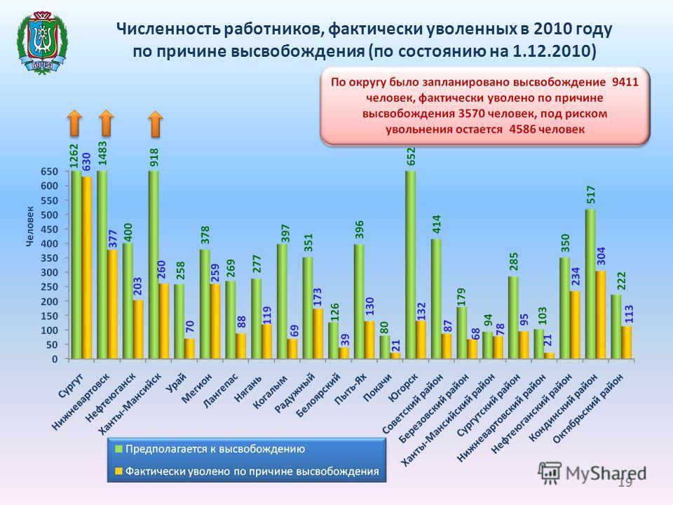 Численность работников, фактически уволенных в 2010 году по причине высвобождения (по состоянию на 1.12.2010) 19
