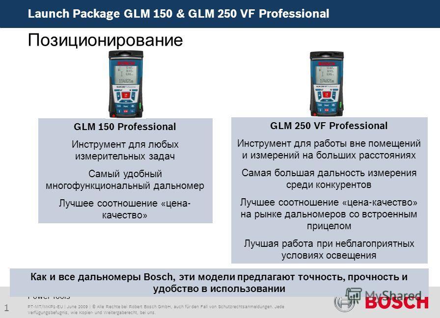 Launch Package GLM 150 & GLM 250 VF Professional 1 PT-MT/MKP1-EU | June 2009 | © Alle Rechte bei Robert Bosch GmbH, auch für den Fall von Schutzrechtsanmeldungen. Jede Verfügungsbefugnis, wie Kopier- und Weitergaberecht, bei uns. Power Tools GLM 150