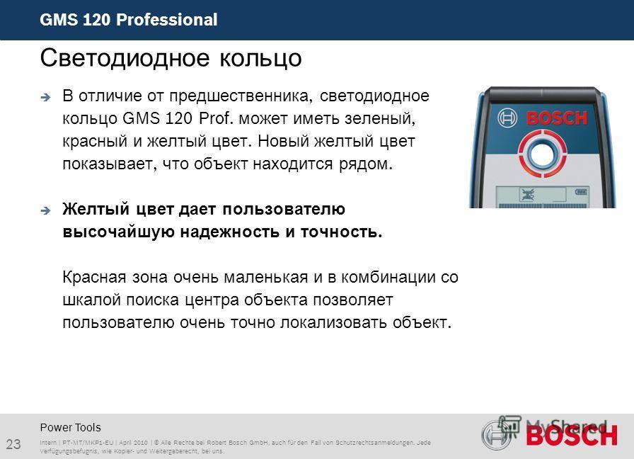 GMS 120 Professional 23 Intern | PT-MT/MKP1-EU | April 2010 | © Alle Rechte bei Robert Bosch GmbH, auch für den Fall von Schutzrechtsanmeldungen. Jede Verfügungsbefugnis, wie Kopier- und Weitergaberecht, bei uns. Светодиодное кольцо Power Tools В отл