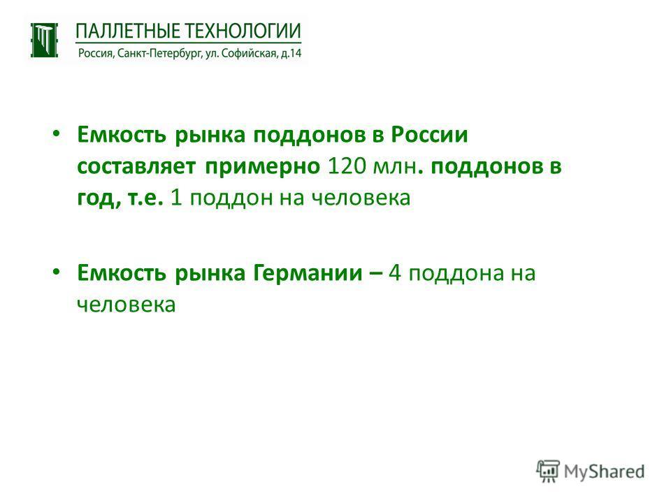 Емкость рынка поддонов в России составляет примерно 120 млн. поддонов в год, т.е. 1 поддон на человека Емкость рынка Германии – 4 поддона на человека
