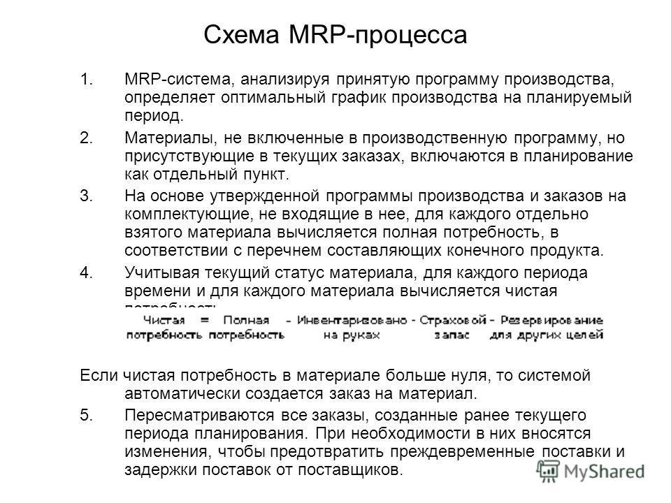 Схема MRP-процесса 1.MRP-система, анализируя принятую программу производства, определяет оптимальный график производства на планируемый период. 2.Материалы, не включенные в производственную программу, но присутствующие в текущих заказах, включаются в