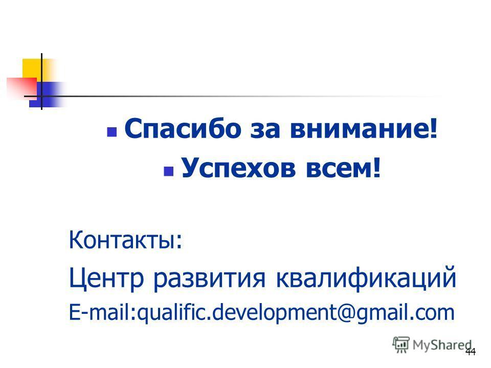 44 Спасибо за внимание! Успехов всем! Контакты: Центр развития квалификаций E-mail:qualific.development@gmail.com