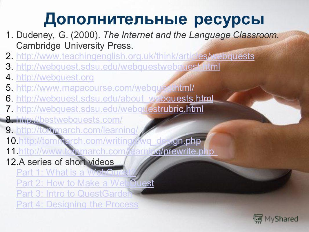 Дополнительные ресурсы 1.Dudeney, G. (2000). The Internet and the Language Classroom. Cambridge University Press. 2.http://www.teachingenglish.org.uk/think/articles/webquestshttp://www.teachingenglish.org.uk/think/articles/webquests 3.http://webquest
